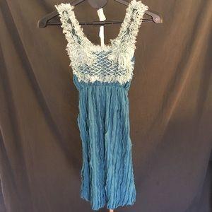 Troya Blue Gauzy Sleeveless Dress by Daniel Design